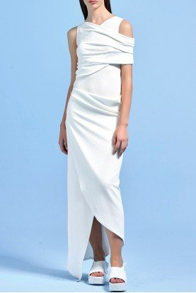 Stretch draped knit white asymmetrical long dress
