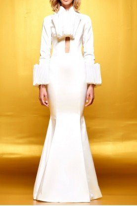 Structured organza and faille long white dress