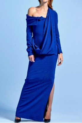 Structured organza faille blue long dress