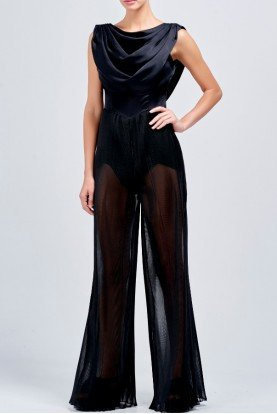 Viscose satin and pleated organza jumpsuit