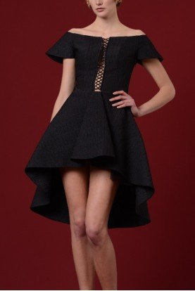 John Paul Ataker Black Bell Sleeves Crisscross Bodice Hi Low Dress