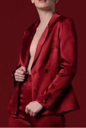 Crimson Red Double Breasted Satin Viscose Jacket