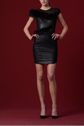 John Paul Ataker Black Stretch Leatherette with Faux Fur Dress
