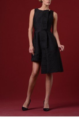 Black Floral Jacquard Asymmetric Dress