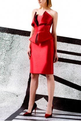 John Paul Ataker Red Structured Taffeta Twill Dress