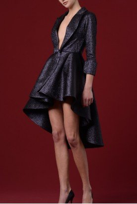 Black Metallic Low Collar Jacquard Dress