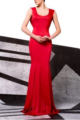 Red Scoop Viscose Satin Gown