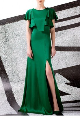 Green Ruffled Sleeves and Bodice Gown