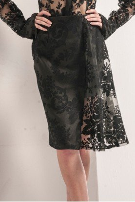 John Paul Ataker Black Devore Organdy Skirt
