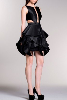 John Paul Ataker Black Illusion Side Cut Detail Ruffled Dress
