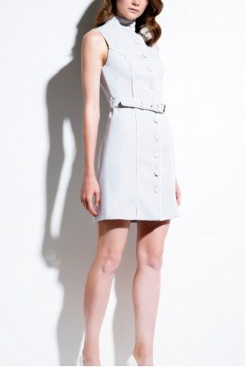 John Paul Ataker White High Neck Buttoned Jacket Dress