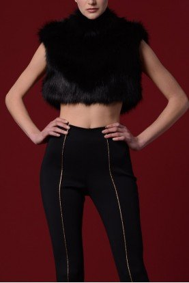 Black Faux Fur Crop Top