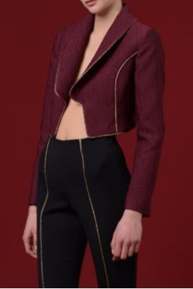 Burgundy Jacquard Collared Jacket with Gold Piping