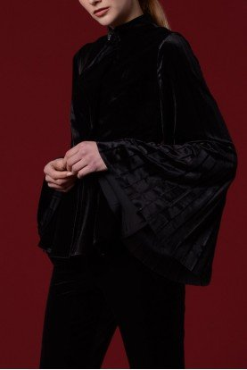 Black Velvet Jacket with Accordion Sleeves Detail