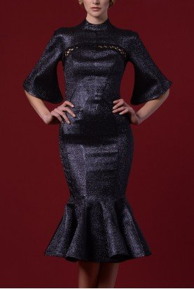 Lace Up Metallic Jacquard Mermaid Dress