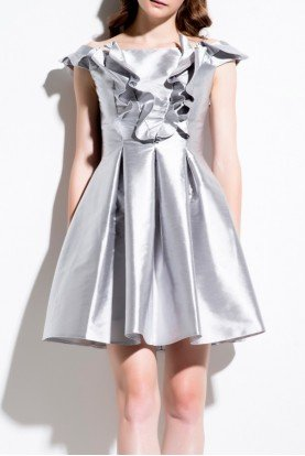 Silver Ruffled Acetate A Line Cocktail Dress