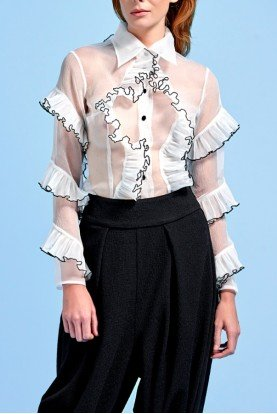 Pleated Ruffled Organza Collared Top