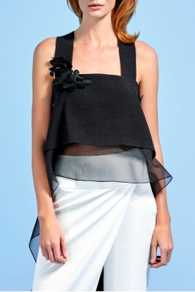 Black Cotton Twill Organza Top