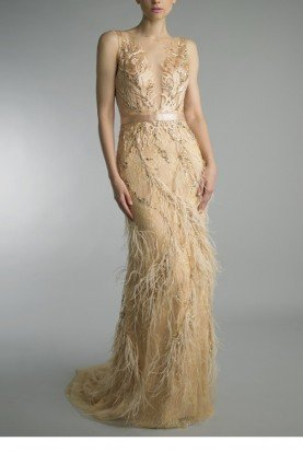 Gold Phoenix Feather Embroidered Evening Gown