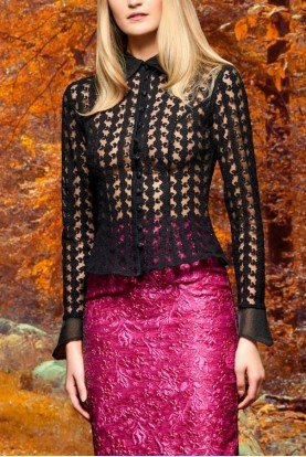 John Paul Ataker Black Classic Lace Embroidered Top