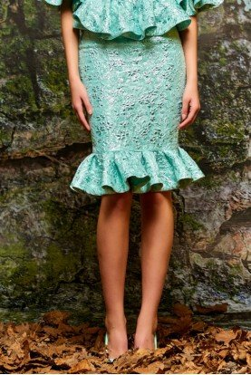 John Paul Ataker Mint Green Ruffled Jacquard Mermaid Skirt
