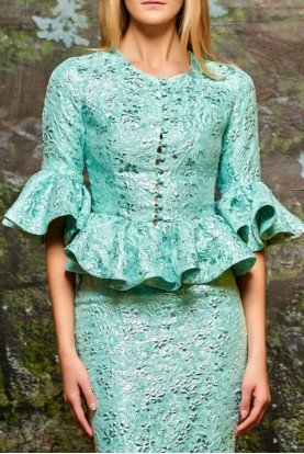 John Paul Ataker Mint Green Ruffled Jacquard Top