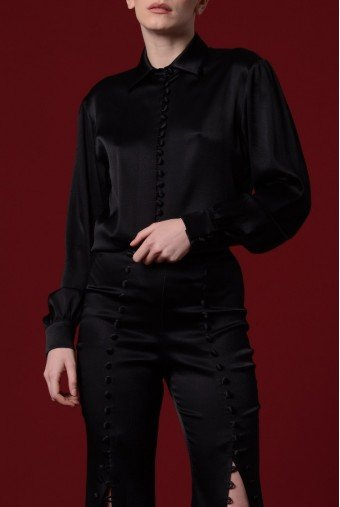 John Paul Ataker Black Stretch Satin Viscose Top