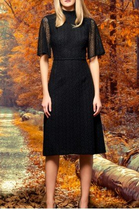 Black High Neck Floral Embroidered Lace Dress