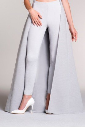 Gray Stretch Ribbed Jacquard Skinny Pants