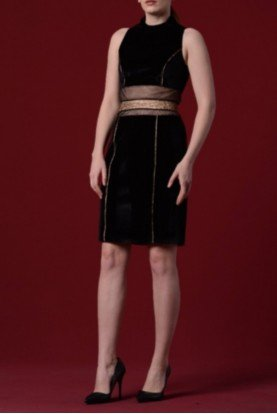 Black Stretch Dress with Sheer Waist Panel Detail