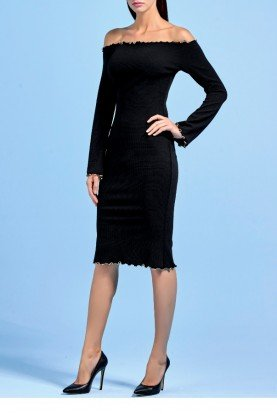 Black Strapless Knitted Jacquard Midi Dress