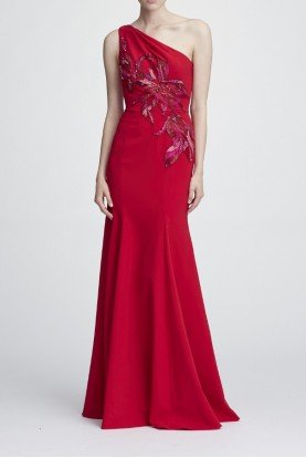 Red One Shoulder Stretch Crepe Gown
