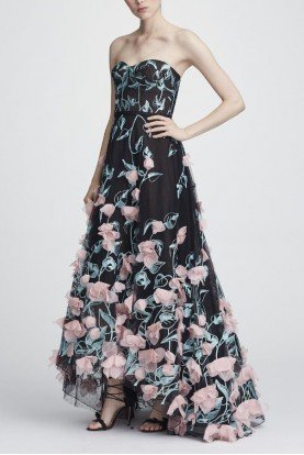 Black Strapless Floral Embroidered Hi Lo Gown
