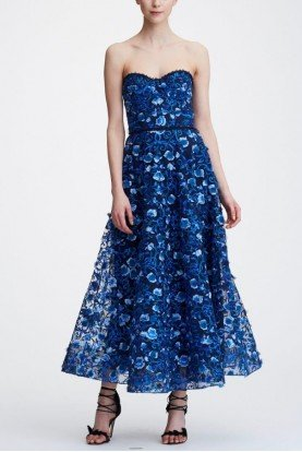 Marchesa Notte Navy Strapless Floral Embroidered Dress