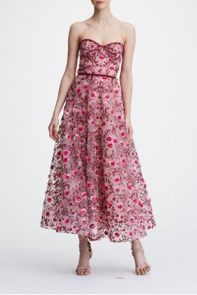 Blush Strapless Floral Embroidered Dress