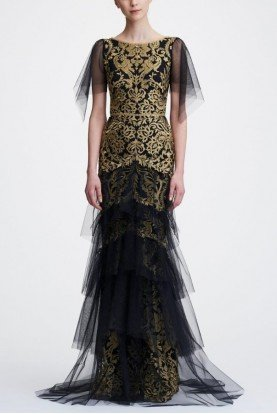 Gold Flutter Sleeve Metallic Embroidered Gown