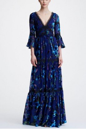 Flounce Sleeve Floral Printed Velvet Burnout Gown