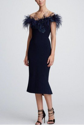 Marchesa Navy Off the Shoulder Crepe Cocktail Dress