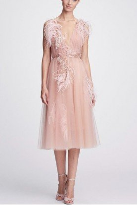Blush Plunging V Neck Tulle Cocktail Dress