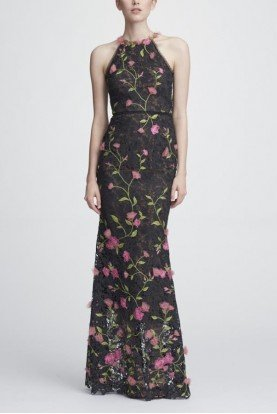 Black Sleeveless Floral Embroidered Lace Gown