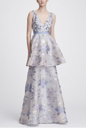 Light Blue Sleeveless Floral Tiered Gown