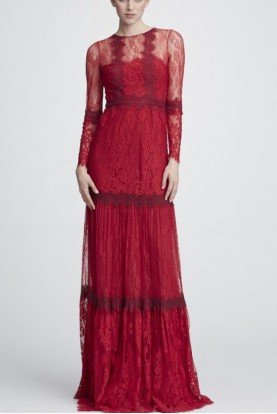 Red Long Sleeve Mixed Lace Gown