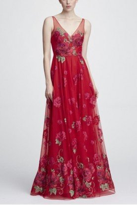 Sleeveless Floral V Neck Gown