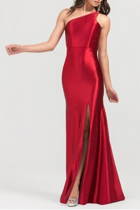3404RA Wine Red One Shoulder Gown with Open Back