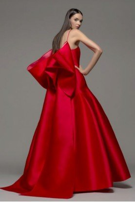Sleeveless Jeffa Gown Red Ball gown w Box Detail