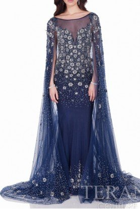 Terani Couture 1622GL1996 Navy Blue Beaded Long Gown with Cape