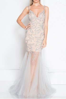 Terani Couture 1811P5507X Crystal Encrusted Fitted Prom Dress