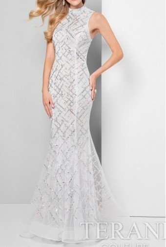 Terani Couture 1712P2494 White Beaded High Neck Gown Prom Dress