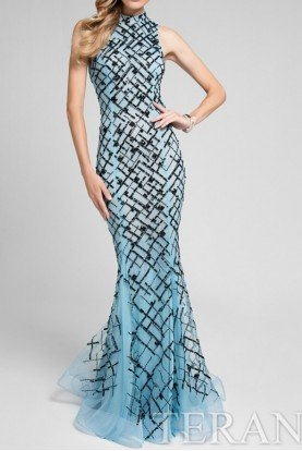 1712P2494 Light Blue beaded High Neck Gown Dress