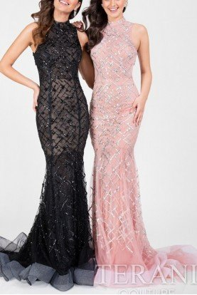 1712P2494 Blush Pink Beaded High Neck Gown Dress